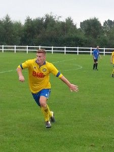 Last years Wearside League and Stockton Town Golden Boot Award winner Kallum Hannah whose hat trick today helped Stockton to a 5 0 victory over Hartlepool FC.