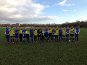Stockton Town Under 11's Blue and Spaire Lads Elite in their remembrance photo at  Bishopton Road West today.