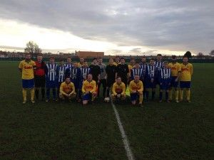 Stockton Town 1st Team and Hartlepool FC before their Wearside League Fixture at Greyfields Enclosure, 6th December 2014.