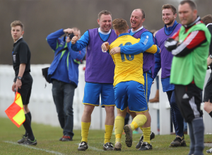 Kallam Hannah's first goal of the Cup Final celbrated with Manager Michael Dunwell.