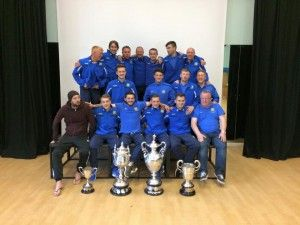 The squad pictured with all 4 Trophy's after yesterdays League Cup victory.