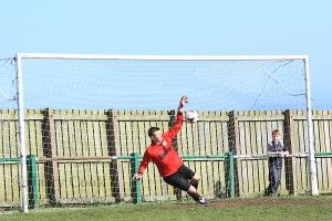 Michael Arthur saving Easington's 1st penalty kick.