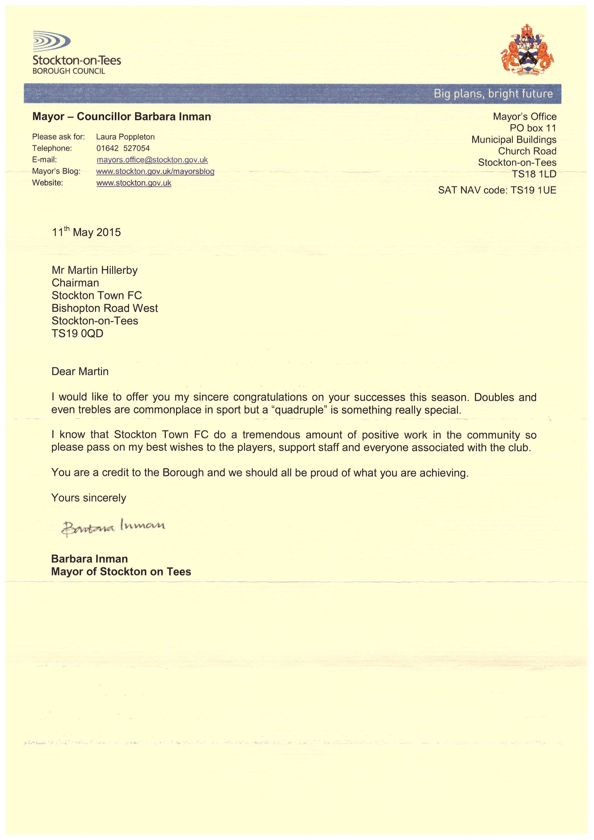 Letter from Mayor