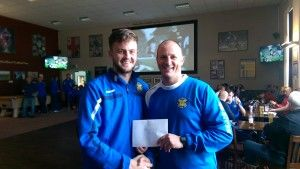 Max Craggs receiving his Player of the Month Award from 1st Team Manager Michael Dunwell.