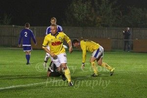 Tony Johnson turns away after firing in Stockton's equaliser to make it 1 1.