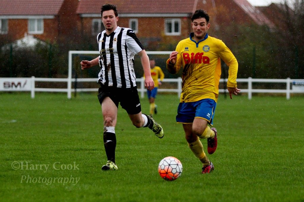 Chris Stockton takes on a Boldon CA defender in our recent Monkwearmouth Cup victory 5 0
