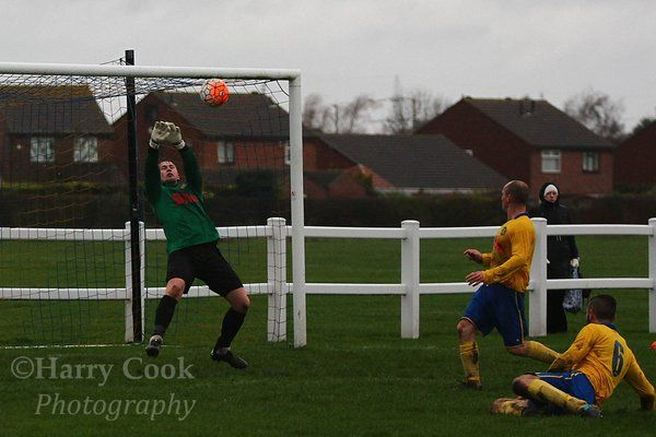 Stockton Keeper Liam Jordan pulls off a smart save during our Cup Semi Final victory over Boldon CA.