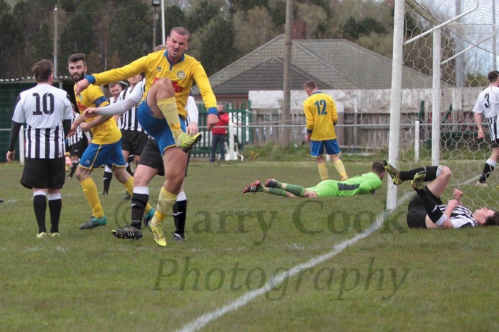 Chris Dunwell celebrates scoring Stockton's equaliser.