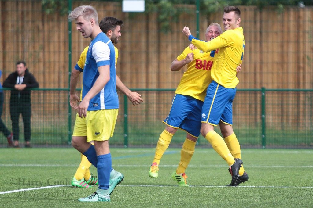 Tony Johnson and Adam Nicholson celebrate the 1st goal in yesterdays victory over Willington FC