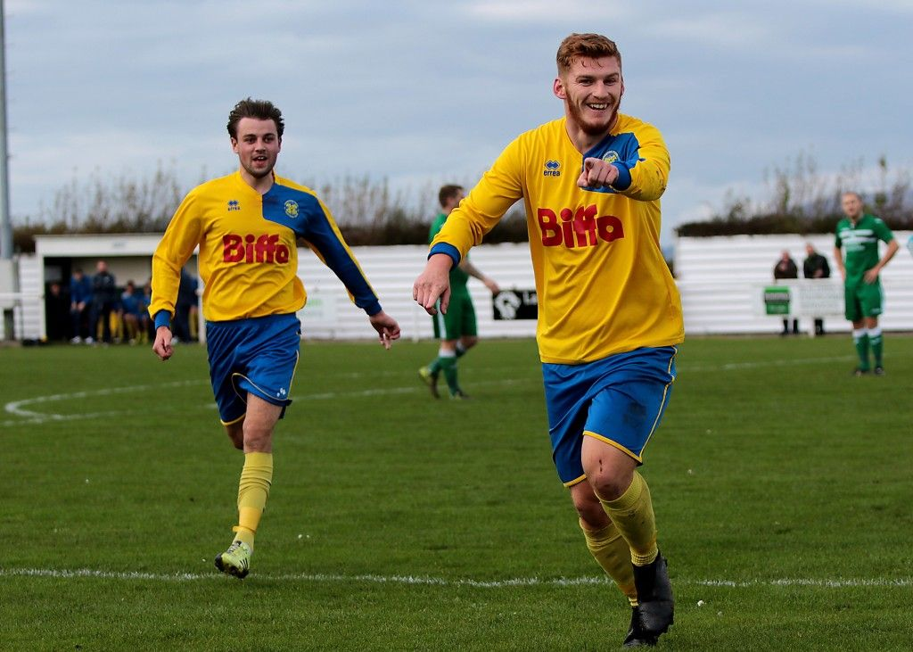Kallum Hannah celebrates scoring the first goal at Holker Old Boys in the last round.
