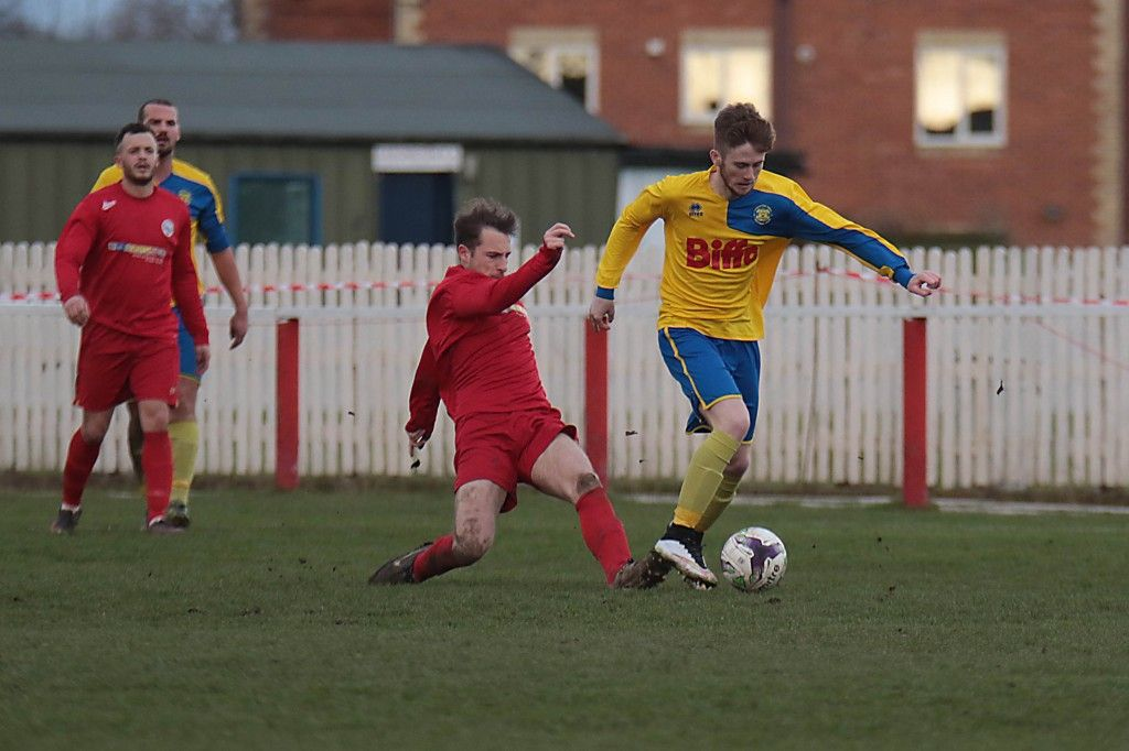 Arthur Connelly in action while making his Northern League & 1st Team debut on Saturday at Darlington RA.