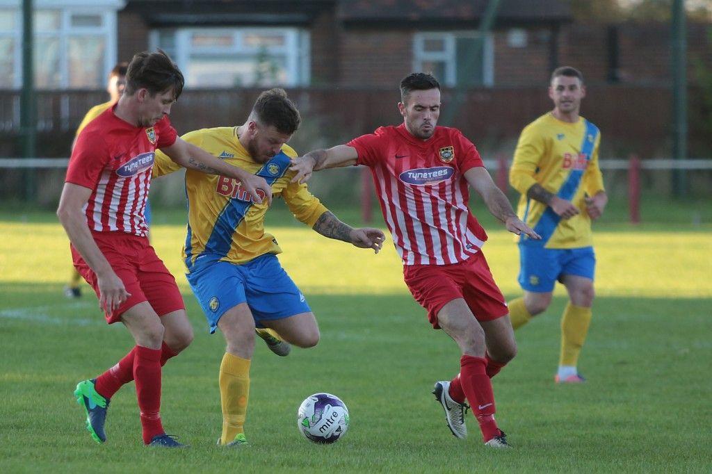 Stockton Towns goalscorer Jamie Owens