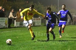 Joe Scaife Wheatley in recent action at Newton Aycliffe, scored our third.