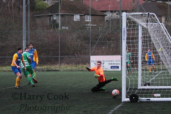 Stav Roberts puts his header into the far corner to give Stockton a 2 1 lead just before half time.