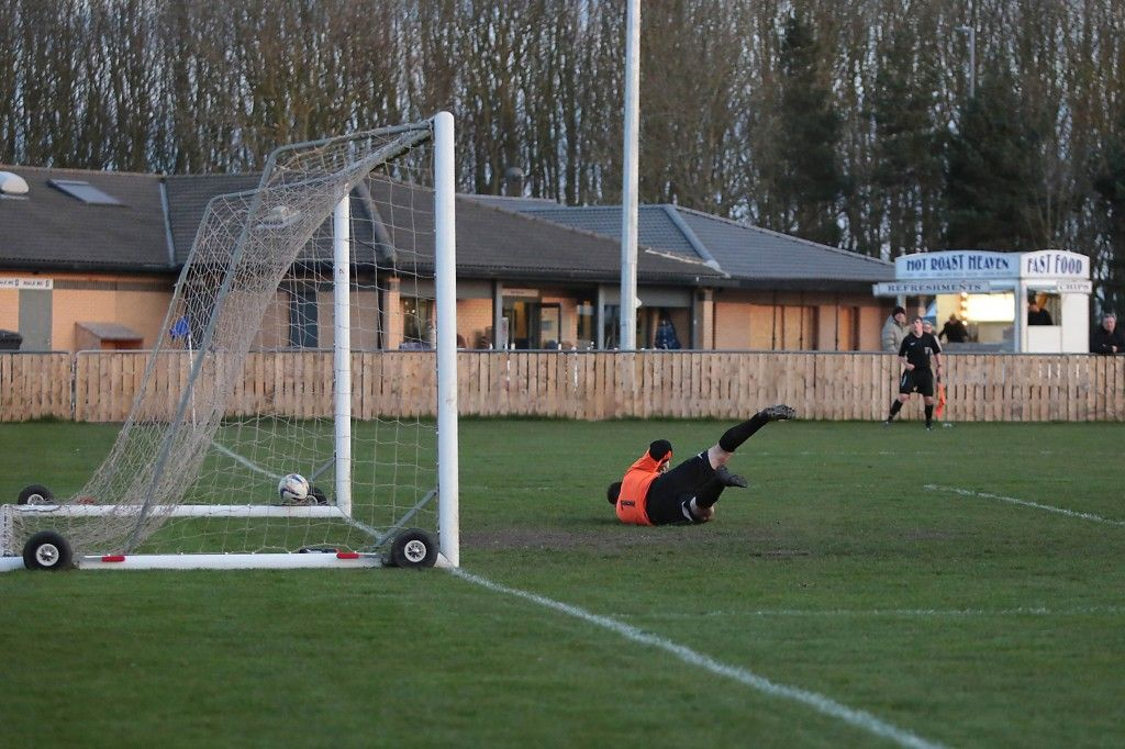 Max Craggs fires into the Blyth net to open the scoring.