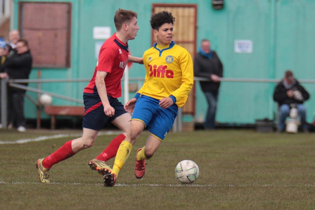 Dylan in action during the Wearside League Cup Final victory over Redcar Athletic.