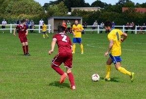 Stockton forward Chris Stockton in action against Spennymoor Town Reserves.