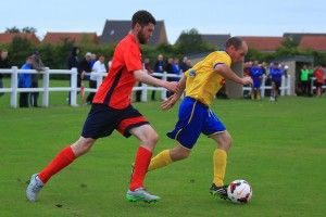 """David """"Porky"""" Dowd in recent action against Redcar Athletic."""