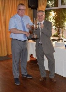 1st Team Secretary Rob Sexton collecting the Wearside League Trophy for Respect & Fair Play for the Season.