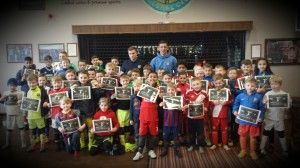 The Players with their Certificates after completing the Holiday Course at the Club during last half term.