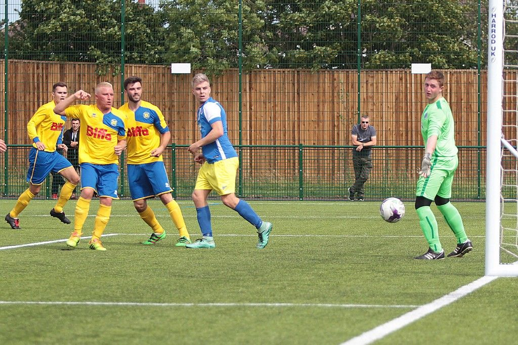 Tony directs his header across the keeper for our 1st goal.