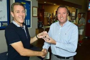 Bill Scott Patron of the Middlesbrough & Teesside Philanthropic Foundation presenting Club Chairman Martin Hillerby with his Teesside Hero Award