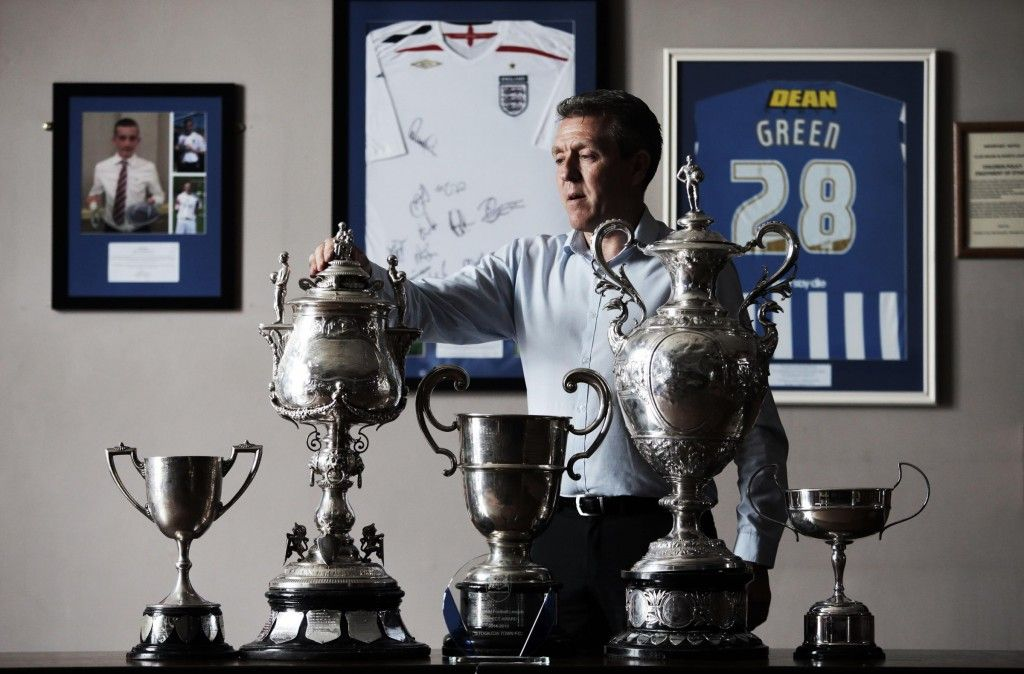 Club Chairman Martin Hillerby with the full set of Wearside League Trophies.