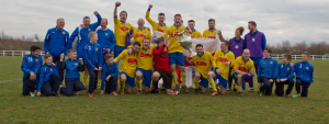 Victorious Stockton Town celebrate Cup Final victory.