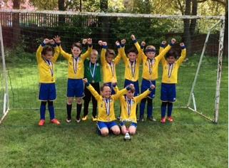 Stockton Town U8's celebrating their victory